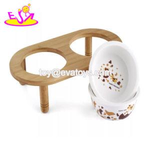 Venda por grosso de madeira natural barata levantou a taça de cães com recipientes de cerâmica para gatos e cães W06f053