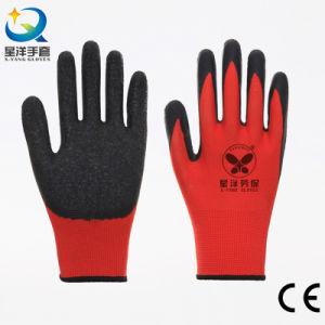Mais competitivos 13G Camisa de poliéster com anilha ondulada revestido de látex segurança luvas de trabalho com marcação CE
