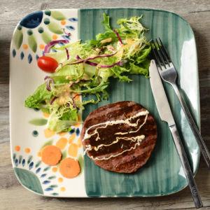 Création de la nourriture occidentale Hand-Painted Steak House Square Graffiti plaque en céramique