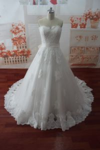 Sweetheart Real Photo Appliques Sleeveless Wedding Dress (WDZ56)