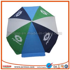 Promozione antivento esterna di stampa su ordinazione che fa pubblicità all'ombrello di spiaggia diritto di Sun del parasole