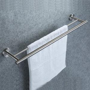 De muur Opgezette Staaf van de Handdoek van de Toebehoren van de Badkamers van het Spoor van de Handdoek van het Roestvrij staal Inox Dubbele Dubbele