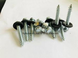 Vis autotaraudeuse à tête hexagonale avec rondelle EPDM plaqué zinc C1022#en acier au carbone 14*25, no 14*32