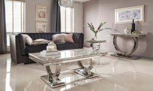 Inicio juego de mesa de comedor mesa de comedor de vidrio/Bases de acero inoxidable