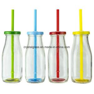 Saft-Flasche der Milch-300ml mit Metallkappe und -stroh