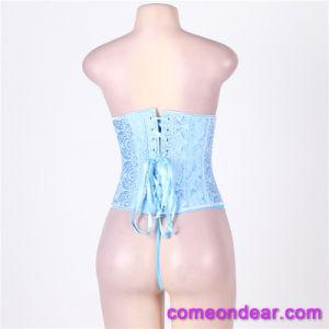 Una buena calidad abierto caliente Hot Sexy Corsé Shaper azul