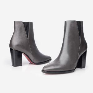 2018 Nuevo de la mujer botas con suela de goma superior Calfskin