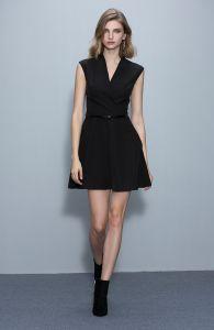 Мода мало черный Платье без рукавов с поясом на резинке черный производителей одежды