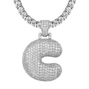 2020 Populaire Naam 925 van de Brief van het Alfabet van de Juwelen van de Douane de Zilveren Juwelen van de Halsband van het Tennis van de Tegenhanger met Aanvankelijk