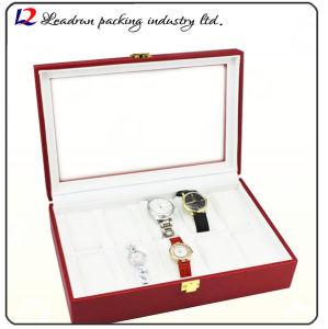 La casella di memoria di cuoio di lusso della visualizzazione dell'imballaggio della vigilanza con la scanalatura due per Suo-e-Suo guarda l'amante delle coppie (Sy07)