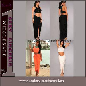 3 couleurs Robe longue Robe de vêtements des femmes Bodycon jupe (60120)