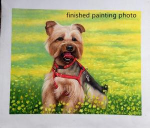 絵画へのハンドメイドペット肖像画の油絵の回転写真