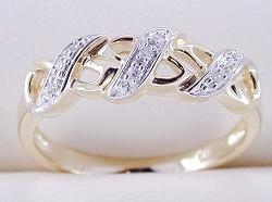 anello di oro giallo 10K con il diamante (LRG1085)