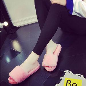 Haute qualité à la mode Soft Fake Fox diapositive de la Fourrure Chaussons la fausse fourrure sandales pour femmes