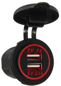 12V si raddoppiano adattatore di CA del divisore dello zoccolo dell'accenditore della sigaretta dell'automobile della presa dell'adattatore di potere del caricatore dell'automobile del USB