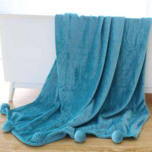 Micro de calidad superior de franela con borlas de felpa Manta