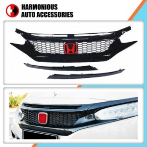 Modificación de la parrilla frontal negro para Honda New Civic 2016 2018