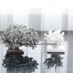 Galvaniseer de Zilveren Ornamenten van de Hars van het Huis van het Beeldje van het Koraal voor Decoratie