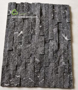 Ql-036壁Sladdingまたは下見張りのための曇った灰色の珪岩文化石