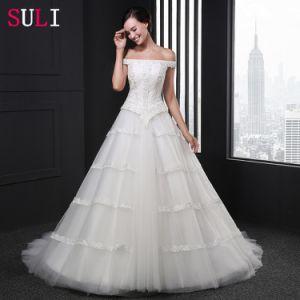 Strapless Lace up Cap Sleeve Wedding Dress (Z-009)