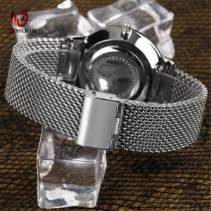 Vigilanza casuale di vetro #V382 della cinghia della maglia dello zaffiro ultra sottile dell'acciaio inossidabile delle donne degli uomini
