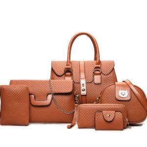 2019명의 새로운 Bag Female Fashionable Tote PU 가죽 가방 패션 디자이너 숙녀 여자 6개 피스 핸드백