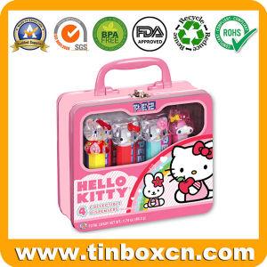 Hello Kitty Tin con ventana transparente para el almacenamiento Caja de regalo