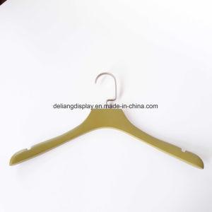 Olive-Greenカラー卸売のための木製のハンガーの衣服