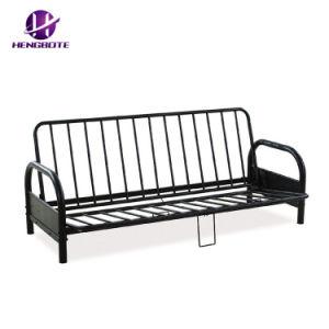 光沢の黒の終了する良質ステンレス製フレームの安い価格のホーム家具の高品質の産業布団のソファーベッド