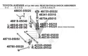 48530-09190 del amortiguador para Toyota Avensis Kyb 334329 334205