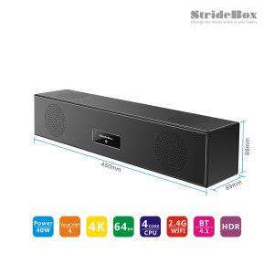 Spitzenkasten mit Bluetooth Lautsprecher Sstride Kasten Andorid Fernsehapparat-Kasten mit S905X 2GB Memory/16GB Speicherung Pre-Installed Kodi Surpport 17.3 einstellen 3D, volles 4K, Familien-Theater