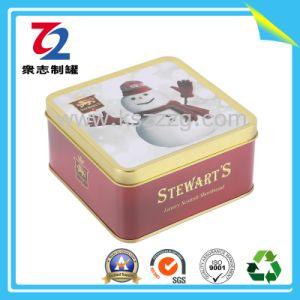 Square relieve 3D lata de galletas de chocolate para Navidad regalos de estampación