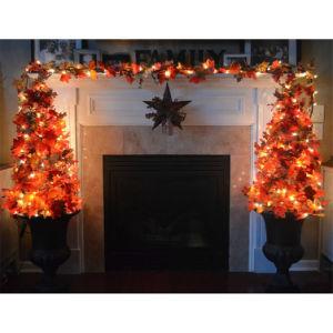 3m de la cosecha de Acción de Gracias caen hojas de arce Garland iluminado LED de 30 luces de la cadena