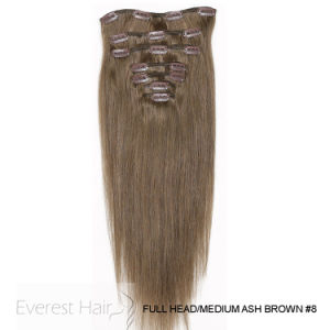 8# cabeza llena de Brasil Clip recto Seda Remy cabello humano.