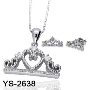 旧式な宝石類のオンライン純銀製の立方ジルコニアのCrwonの花嫁セット