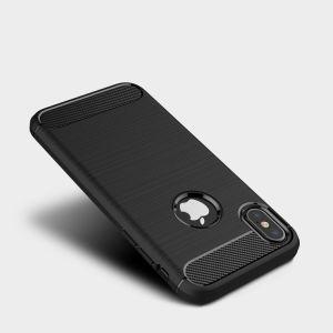 iPhone Xs最大6.5のためのカーボンファイバーTPUの柔らかい箱