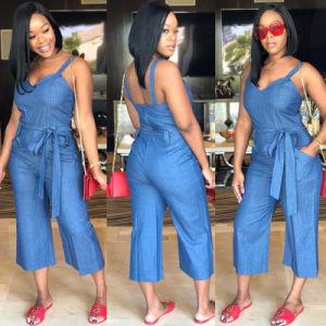 La mujer sin mangas Jumpsuit sólido diseño nuevo con la correa