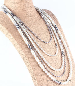 Rhodium van de manier Halsband van de Juwelen van de Laag van de Parel de Multi voor de Gift van Vrouwen