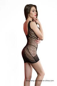 La Malla alta de la mujer Falda Bodysuit agujero Lingerie