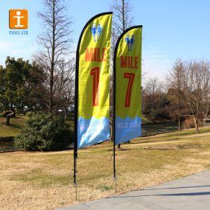 Настраиваемые стекловолоконные полюс-слезники Бич пуховые под флагом (TJ-27)