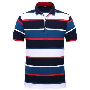 Camicia di polo casuale della camicia della banda della camicia di colore del contratto di Men S di modo