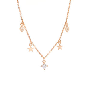 Estrellas y la piedra de forma de rombo Multi Collar de Plata 925 colgantes de oro rosa