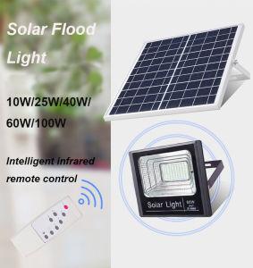 Energía verde alto brillo 10W/25W/40W/60W/100W Reflector Solar Control remoto