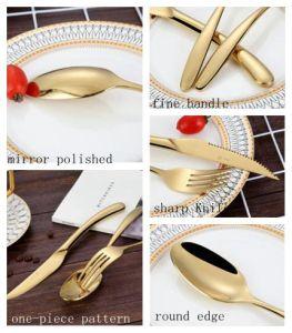 Royal Cuchilla de acero inoxidable chapado en oro cuchara tenedor el restaurante del hotel de la cena de bodas juego de cubiertos.