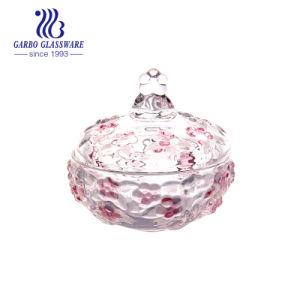 Домашняя посудой Spray цвет Цветочный дизайн из стекла конфеты котел с крышкой (ГБ1807MH-1-PDS)