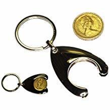 Kein MOQ billig kundenspezifischer Schmucksache-Laufkatze-Scheinmünzen-Schlüsselring (050)