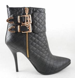 2015 Fashion femmes chaussures Lady Bootie d'amorçage de la cheville avec fermeture à glissière en bronze de boucle Stiletto haut talon