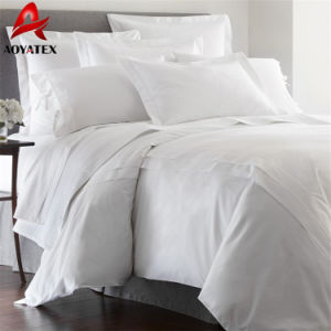 4PCSホテルの白いベッドセット、100polyesterホテルの寝室セット