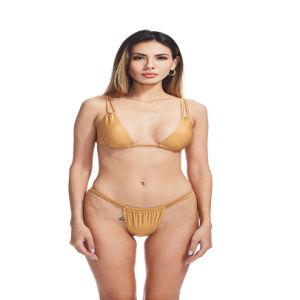 Les femmes de couleur, double Bandoulière solide Thong maillot de bain recyclé