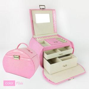 宝石類のためのピンクの女性愛革宝石類のギフト用の箱の化粧箱の構成ボックス